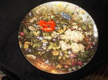 COLLECTABLE GILDED FURSTENBERG CHINA DISPLAY PLATE WILD FLOWERS POPPY LADYBIRD